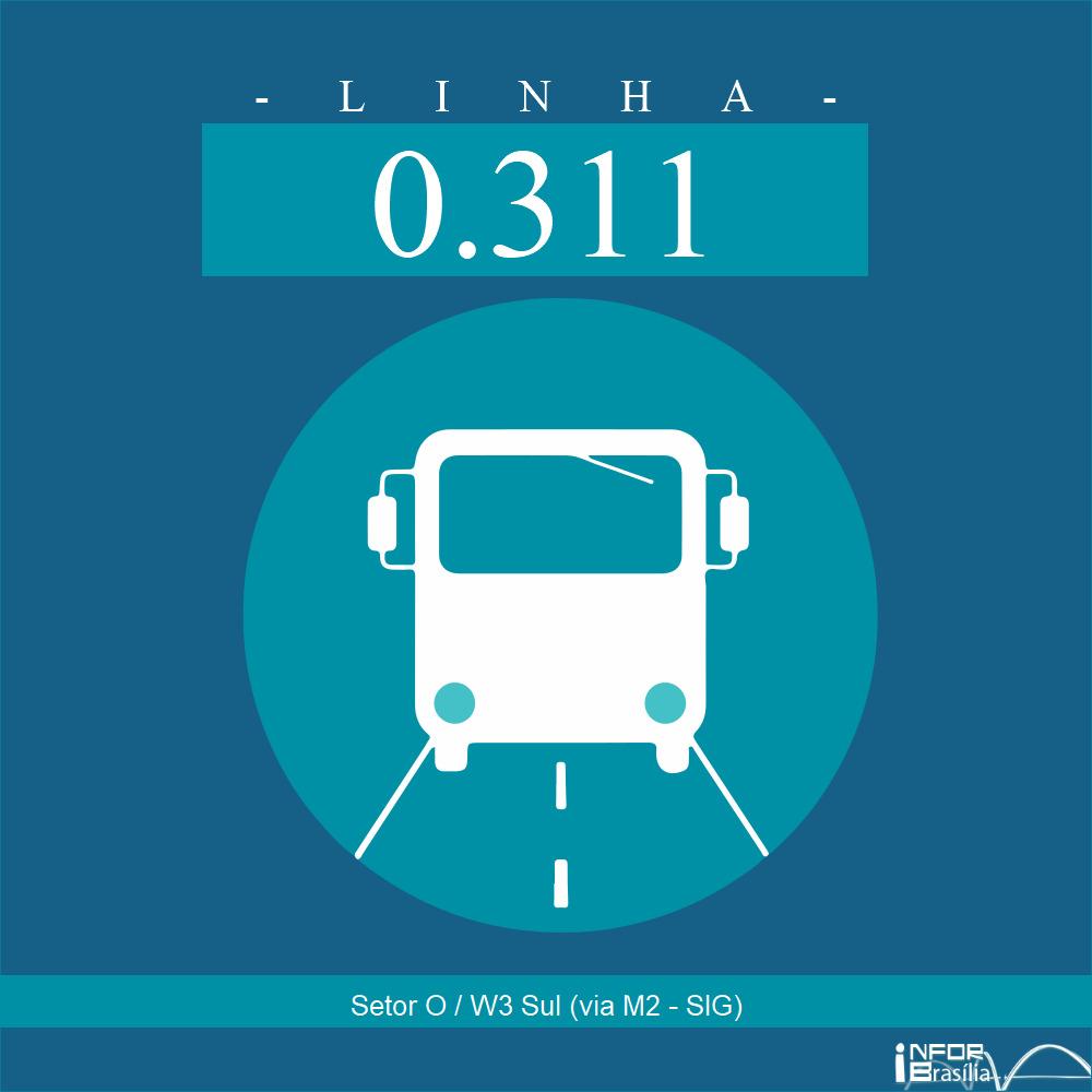 Horário de ônibus e itinerário 0.311 - Setor O / W3 Sul (via M2 - SIG)