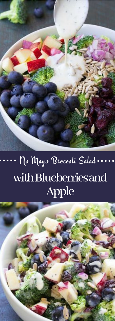 No Mayo Broccoli Salad with Blueberries and Apple #salad #vegan #NoMayo