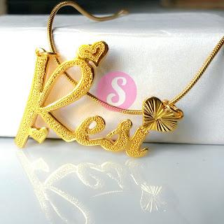 kalung nama lapis emas grafir - resi