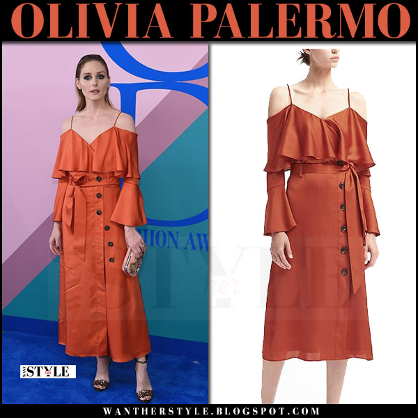 Olivia Palermo in burnt orange off shoulder ruffled button dress banana republic cfda awards 2017 what she wore