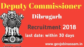 DC Office, Dibrugarh Recruitment 2018,govjobinassam