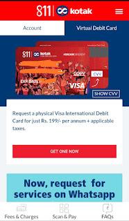 Kotak 811 virtual debit card on app