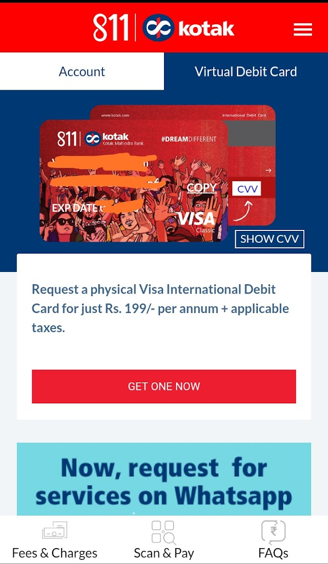 Kotak 811 Debit Card Guide: That You Need (Both Virtual & Physical)