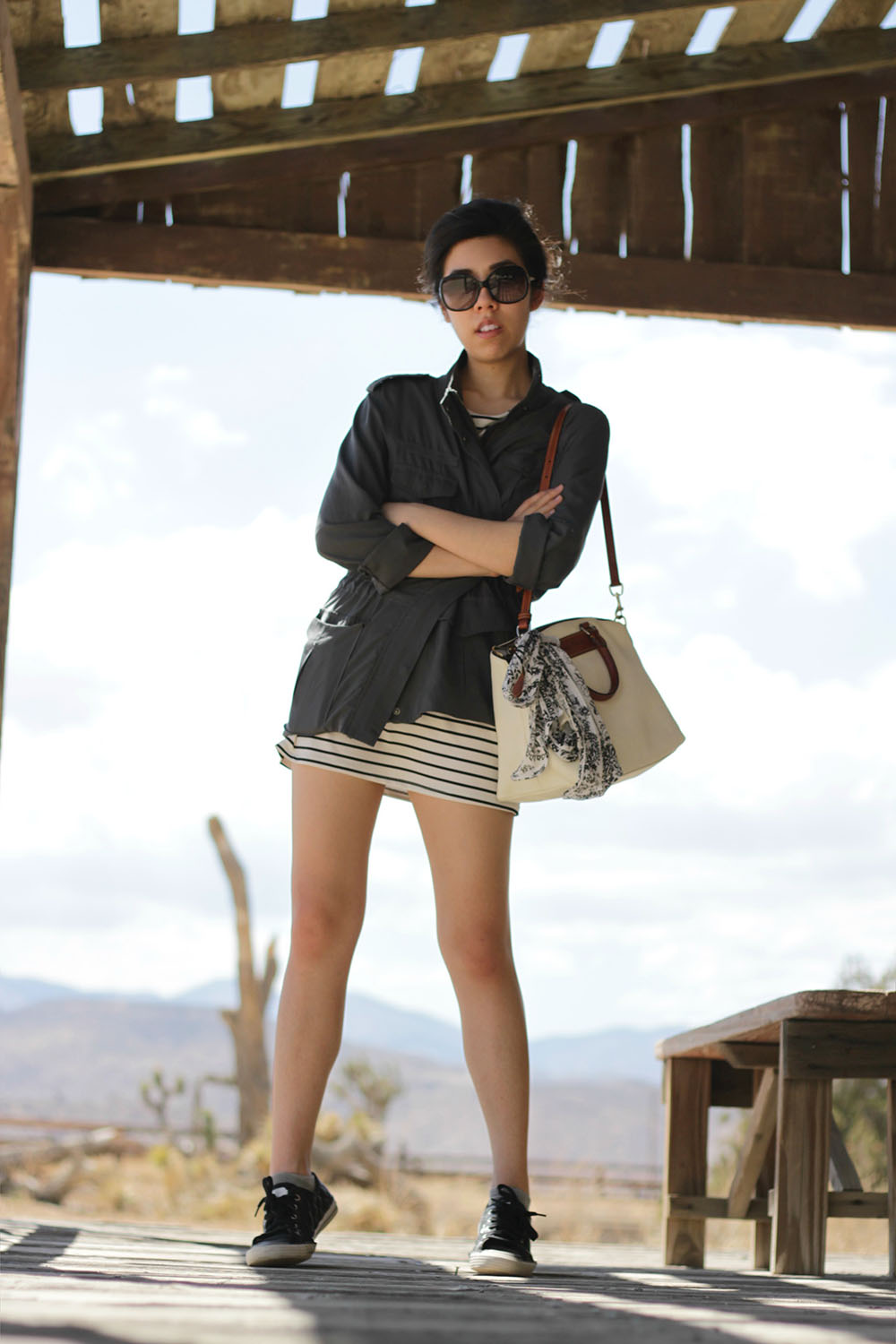 Adrienne Nguyen_College Style_Style of a Pharmacist_Utility Jacket and Breton Stripes Dress