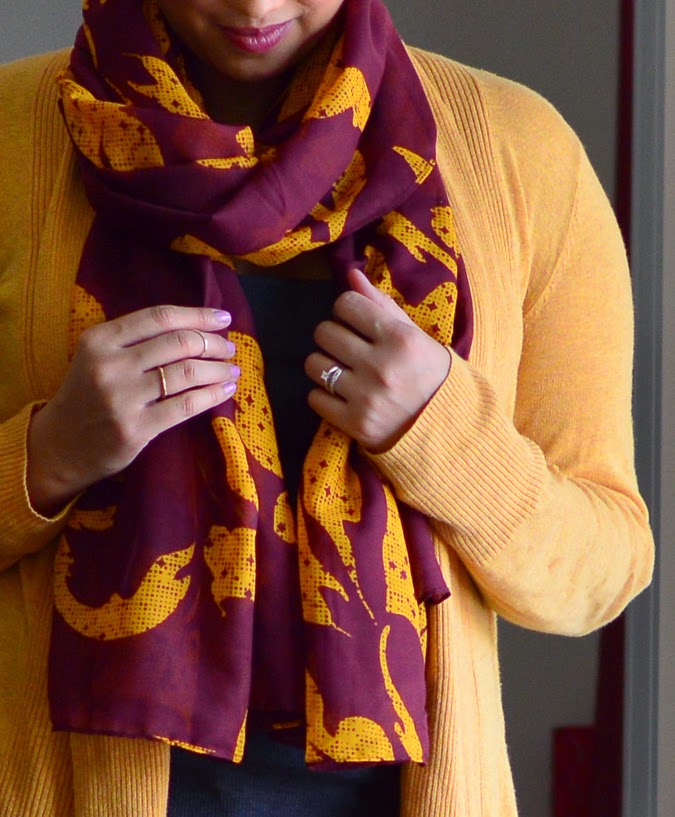 Cozy mustard sweater + patterned scarf + rings