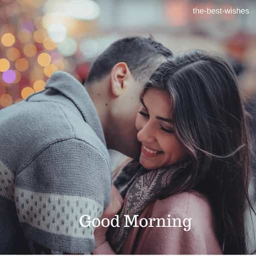 Romantic Coupel Kissing Good Morning Image