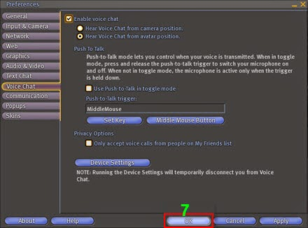 screenshot of device settings in second life game