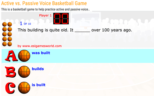 Active vs Passive voice basketball game