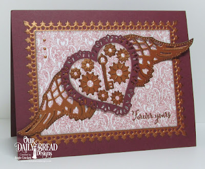ODBD Hugs and Kisses, ODBD Custom Tulip Heart Die, ODBD Custom Layering Hearts Dies, ODBD Custom Steampunk Gears Dies, ODBD Custom Angel Wings Dies, ODBD Custom Pierced Rectangles Dies, ODBD Custom Lavish Layers Dies, ODBD Heart and Soul Paper Collection, Card Designer Angie Crockett