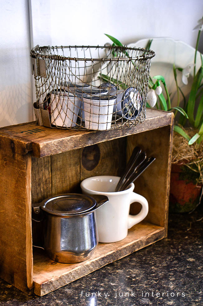 An old crate and a fry basket / Coffee pod storage with a crate and a basket via https://www.funkyjunkinteriors.net/