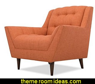 Modern Mid-Century Retro Tufted Armchair, Orange Fabric, Espresso Wood Legs