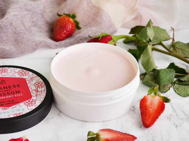 The Body Shop Japanese Cherry Blossom Strawberry Kiss Body Cream and Lip Juicer