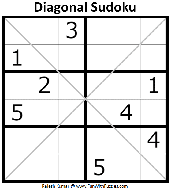photograph about 6x6 Sudoku Printable named Diagonal Sudoku Puzzle (Sudoku for Little ones #1)-Brains Yoga