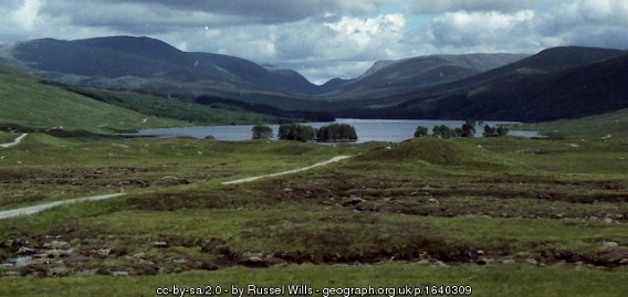A loch with hills in the background