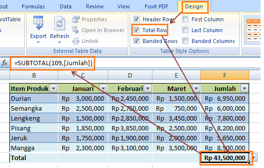 Cara Menambahkan Total Row Data Table
