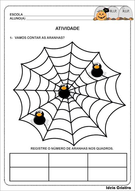 Atividades Número e Numerais de 1 a 10 Dona Aranha Halloween