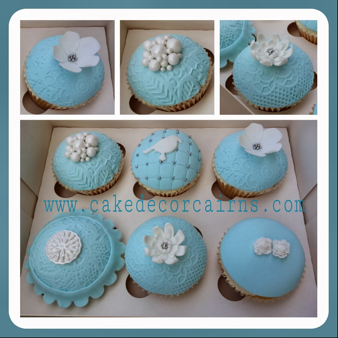 vintage lace fondant cupcakes blue with white flowers, bird and pearls