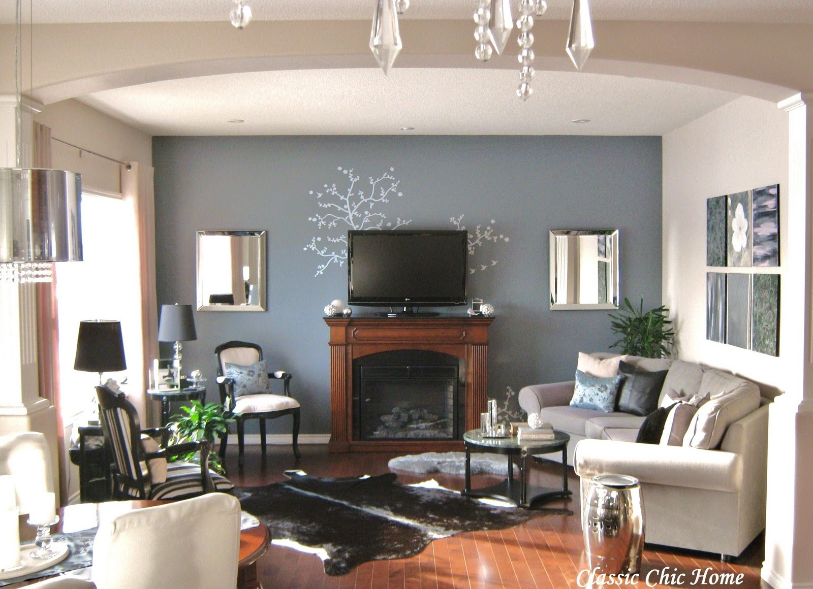 how to decorate a living room with fireplace and tv painting rooms wall decor ideas over