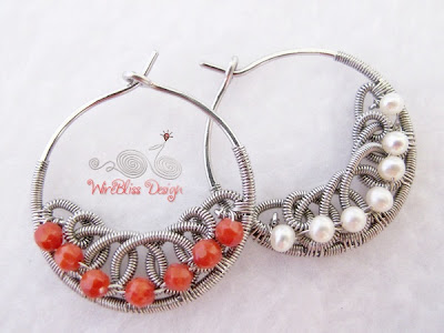 Filigree Hoop Earrings with pearl and coral beads