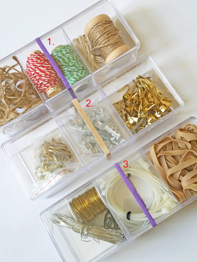 ties, rubber bands, c hooks, wire, a few of the supplies for holiday decor.