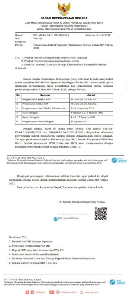 Pendaftaran CPNS Resmi Diperpanjang Sampai 26 Juli 2021