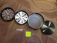 """alle Teile: DCOU aluminium tabak spice herb mühle / anlage mühle / pollen sammler mit magnetischen cover mit pollen - fänger 4 schichten 2,5 - Zoll """"schwarz"""
