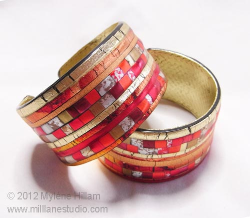 Red Mosaic Cuff bracelet made from Friendly Plastic