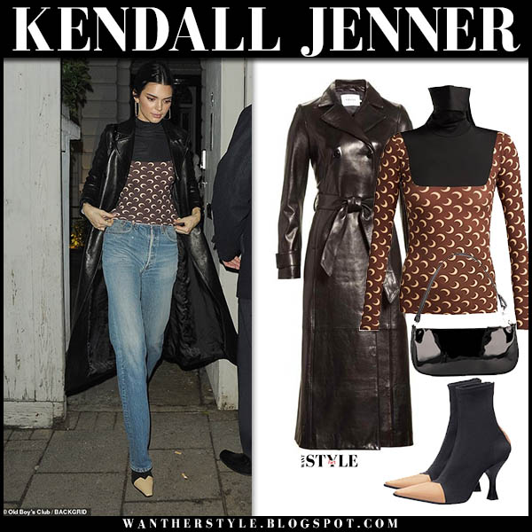 Kendall Jenner in black leather frame coat, brown printed top and jeans model winter style december 10
