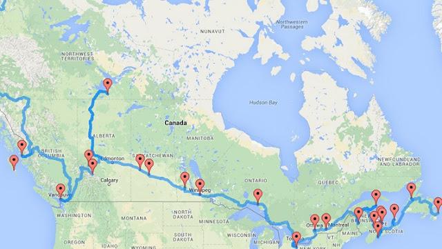 Roteiros de carro pelo Canadá