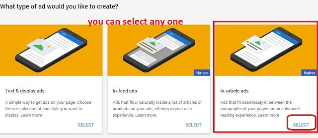 select any one type of ads format