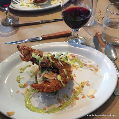 heirloom tomatoes and coconut shrimp for monthly dinner at Homemade Cafe in Berkeley, California