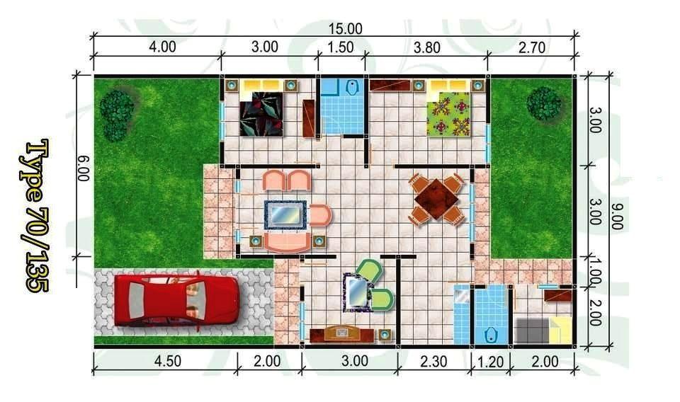 Contoh Denah Rumah Type 70 Minimalis Elegan