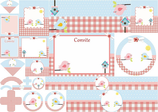 Birds in Pink and Light Blue Free Printable Kit for your Baby Celebrations.