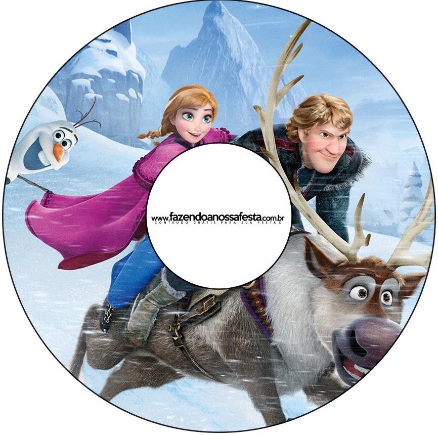 Etiqueta para CDs de Fiestas de Frozen.
