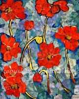 Poppy Hoppy, Modern Wall Art, Red Poppy Art for Sale