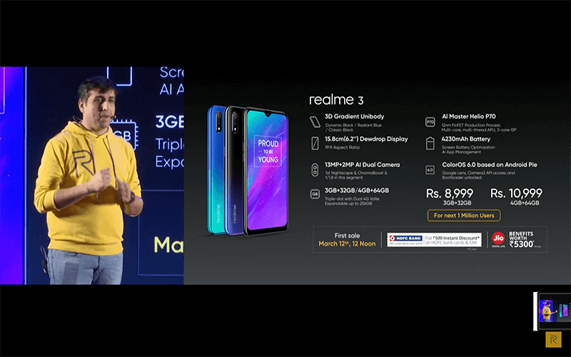 Realme 3 budget phone with Helio P70 and Nightscape dual-camera goes official