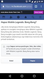 Cara menghapus akun mobile legends pada Facebook
