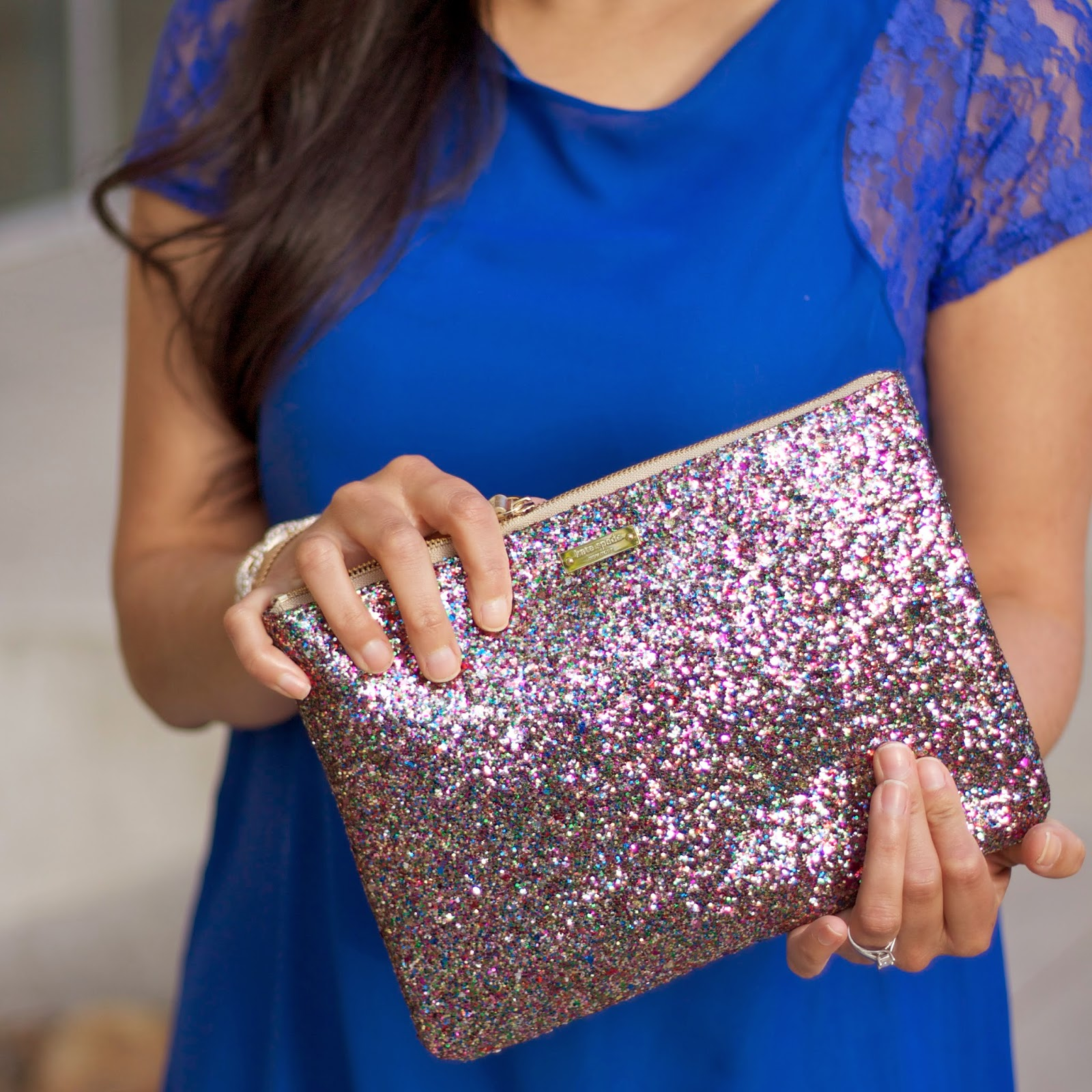 Fun clutches, Kate Spade Sales, Kate Spade multicolored glitter, touch of glitter on an outfit