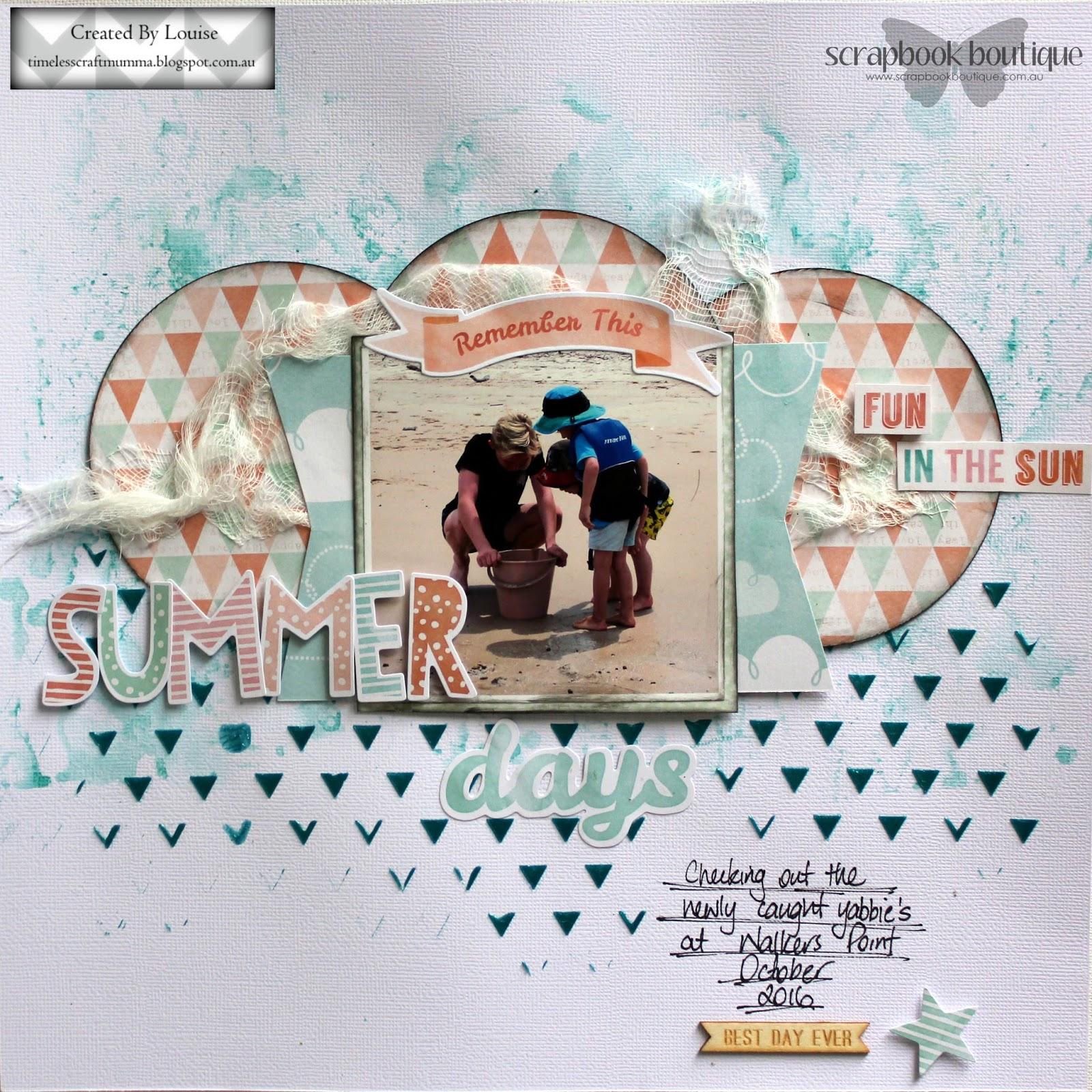 How to delete scrapbook photos google+ - Scrapbook Boutique Dt Summer Days Scrapbook Layout Using Cocoa Vanilla Studio Endless Summer Collection