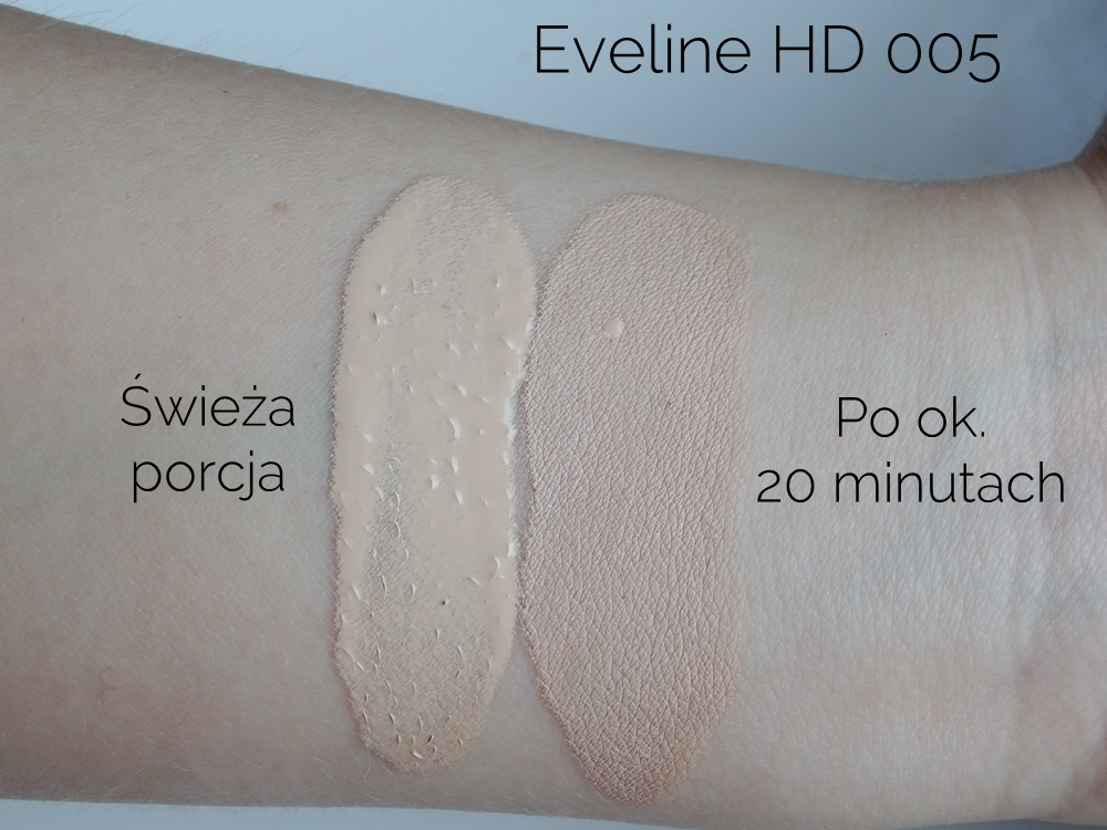 Eveline Liquid Control HD 005 Ivory jak ciemnieje
