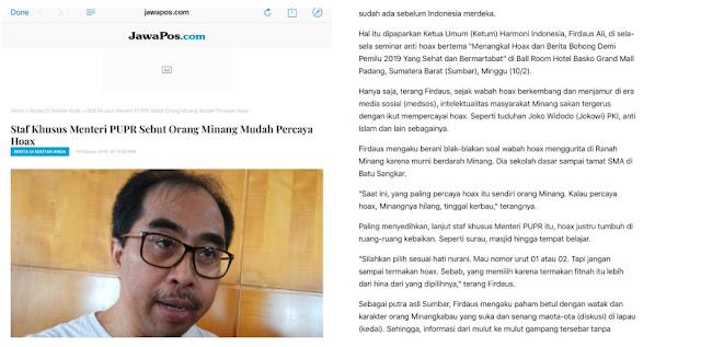 JawaPos Hapus Berita Stafsus Menteri PUPR yang Sebut Orang Minang Mudah Percaya Hoax