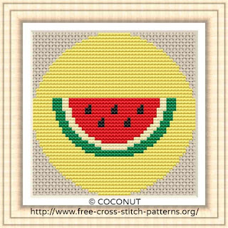 WATERMELON FRUIT ICON, FREE AND EASY PRINTABLE CROSS STITCH PATTERN