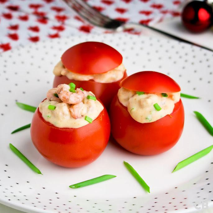 Recept Tomaatjes gevuld met een boozy garnalensalade