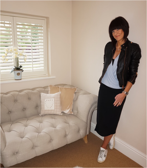 My Midlife Fashion, Zara leather biker jacket, marks and spencer crossover ruched top, monks on vacation madeleine skirt, golden goose superstar trainers