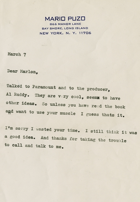 3055fd466d Letter from Puzo to Marlon Brando. Puzo wanted him to play Vito Corleone.  (Courtesy of Dartmouth Library)