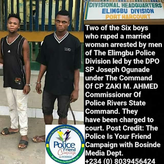 Photo: Police arrest two of the six men who raped a married woman in Rivers State