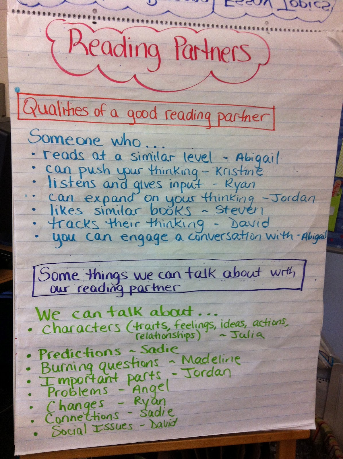 Two Reflective Teachers Reading Partnerships