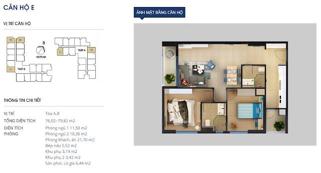 Mặt bằng chi tiết căn hộ 79 m2 - Rivera Park Hà Nội