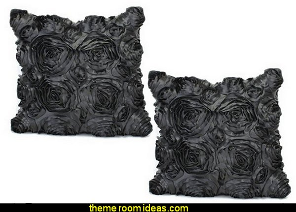 Black Satin Rose Flower Square Pillowcase