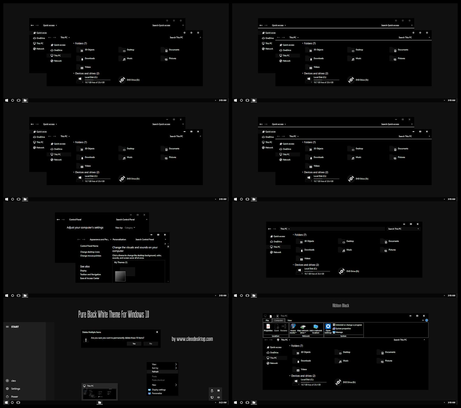 Pure Black White Theme Windows10 May 2019 Update 1903
